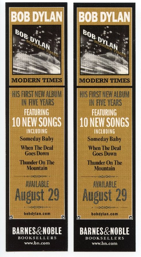 """Bob Dylan - bookmark to promote the album """"Modern Times"""", released August 29, 2006"""