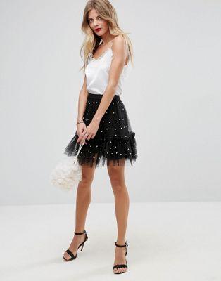 Minifalda de tul con adornos de perlas de fantasía de ASOS