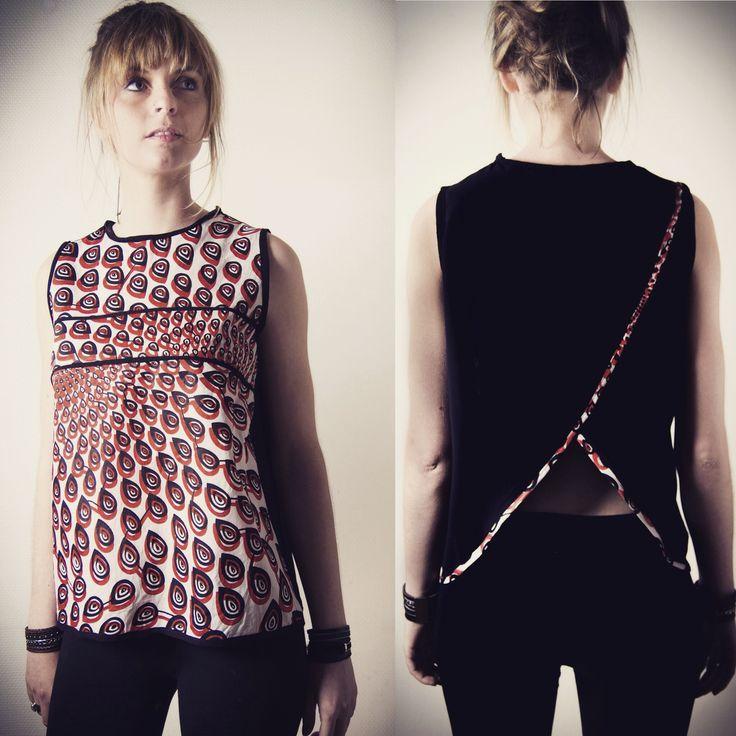 Tee shirt sans manches pour femme rouge et noir, ouverture au dos : T-Shirt, debardeurs par all-by-k