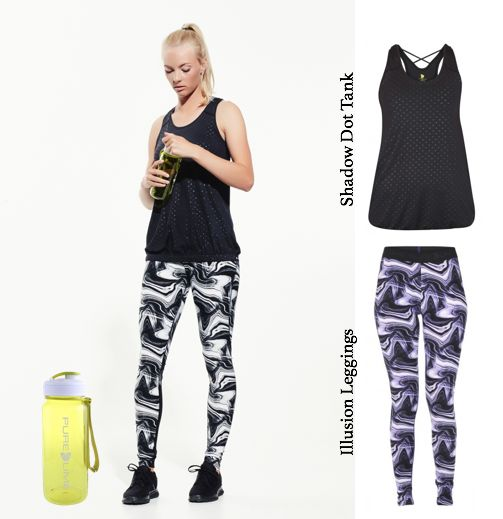 Stay fit and hydrated with cool prints, comfortable tops and functional water bottle from Pure Lime...