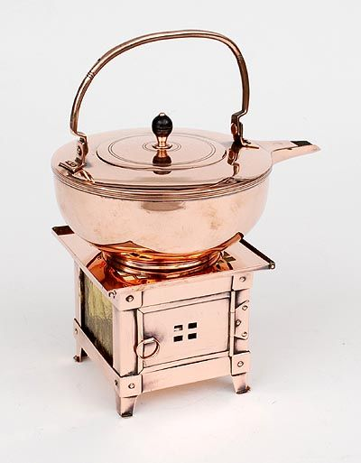 Found on www.botterweg.com - Copper kettle on burner design execution by Jan Eisenloeffel ca.1903 for de Woning Amsterdam / the Netherlands
