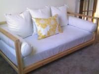 Daybed built of 2x2s --wicked cheap, and would be perfect for the screen porch