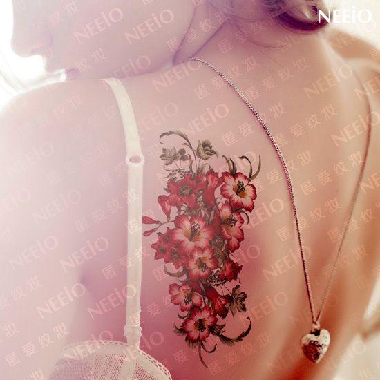 Женщины большой сексуальный временные татуировки красные цветы татуировки наклейки водонепроницаемый женщин конструкции высокого качества новых 2014 конструкций