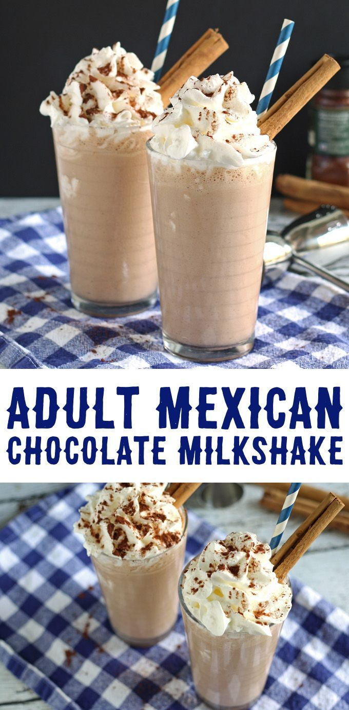 This adult Mexican chocolate milkshake recipe is a delicious blend of chocolate, cinnamon, chipotle chile powder and Cafe Patron! | http://honeyandbirch.com
