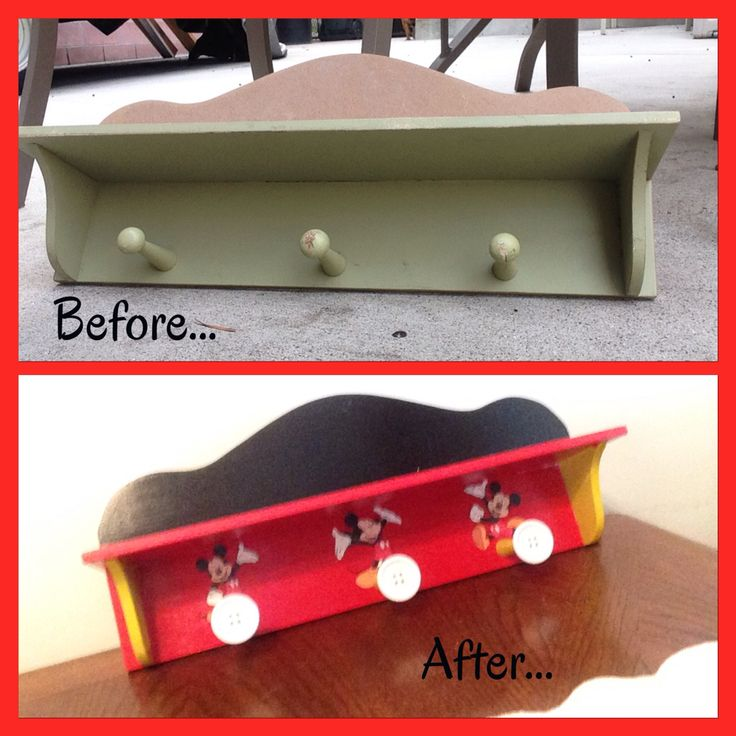 DIY Mickey Mouse themed shelf (before and after) for my nephews first birthday.