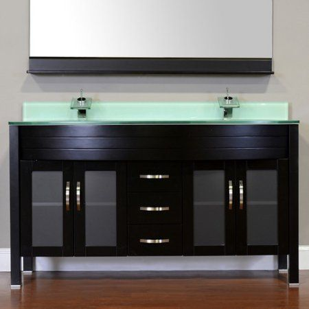 Contemporary Art Websites Elite inch Double Modern Bathroom Vanity in Black with Light Green Glass Top without Mirror