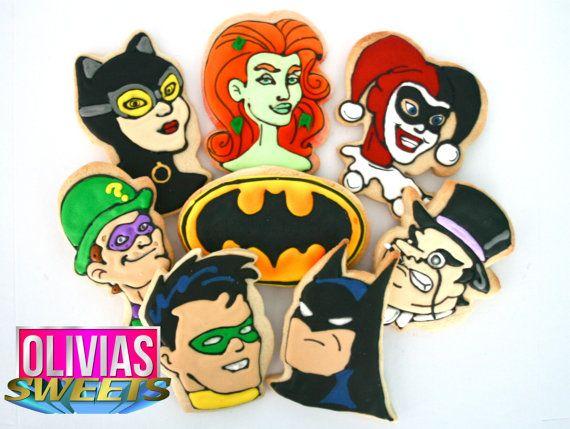 Classic Batman Sugar Cookies  Set of 8 by OLIVIASSweetsCookies