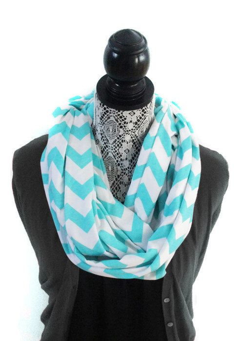 Jersey Knit Fabric Infinity Scarf - Robin Egg Blue Chevron Pattern on White - Cotton Jersey Fabric - Knit Infinity Scarf for Women