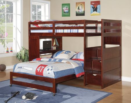 Buy a safe, sturdy, twin over full stairway bunk bed in cappuccino with built-in student desk and stairs for the one you truly love!  It is a twin over full stairway bunk bed with a built-in student desk and storage with FREE SHIPPING nationwide