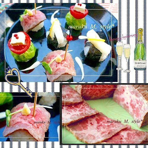 桃咲マルク's dish photo 超簡単 ロースビーフ 3種の小毬寿司   http://snapdish.co #SnapDish #レシピ #パーティー #お正月 #肉の日(2月29日) #お寿司 #肉料理