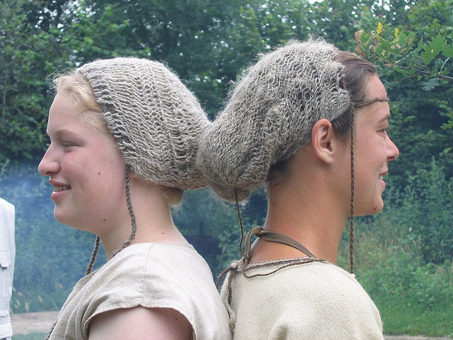 Sprang hairnets at Archeon living history museum, Netherlands