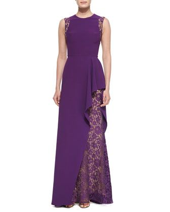 Lace-Inset Ruffled Gown by Elie Saab at Bergdorf Goodman.
