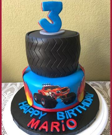 Blaze birthday cake, truck birthday cake, little boy's cake, fondant cake, tire cake