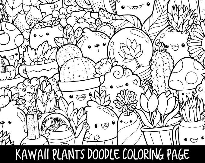 Kirakira Coloring Book Kawaii Doodle Coloring Book Etsy Cute Coloring Pages Plant Doodle Cute Doodles