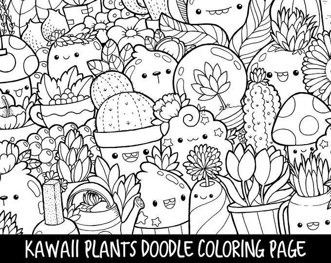 Kirakira Coloring Book Kawaii Doodle Coloring Book Etsy Doodle Coloring Cute Coloring Pages Plant Doodle