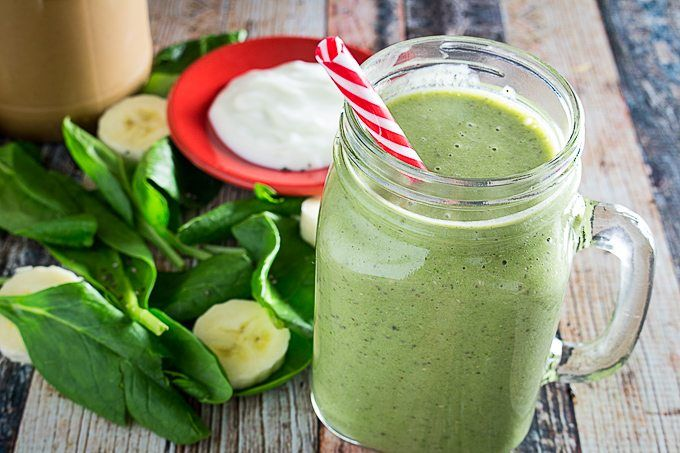 Green Monster Smoothie w/Chia Seeds is loaded with healthy spinach, nutrient-packed chia seeds, creamy peanut butter, almond milk, nonfat yogurt and banana.