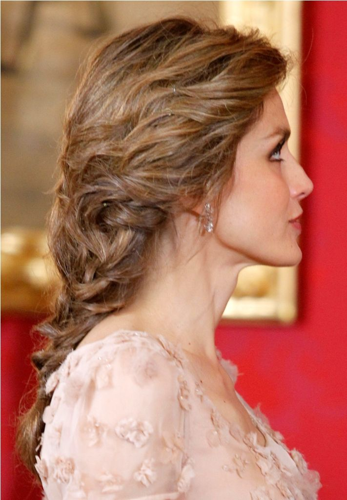 detail of Crown Princess Letizia of Spain's hairstyle 6/2013