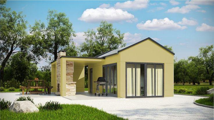 Projekt budynku rekreacyjnego, parterowego, niepodpiwniczonego, z pokojem wypoczynkowym, aneksem kuchennym i łazienką.