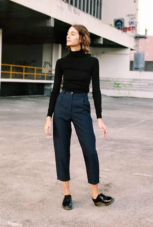 This could be a great look for fall. I like mock turtlenecks and my waistline can be an asset. I like the tailored, sophisticated look, but it has a little edge. I need to probably buy my own shoes, but I like oxfords.
