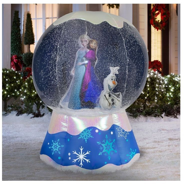 Lighted snow globe frozen christmas inflatable snowman for Outdoor christmas globes