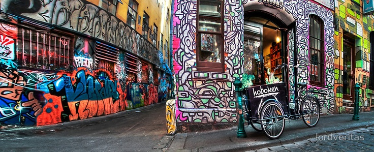The Hoboken Cafe in the famous Hosier Lane, Melbourne Victoria.