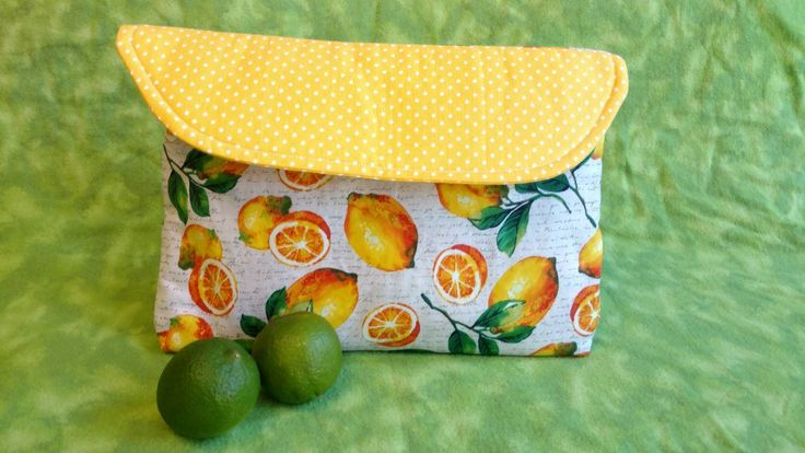 Lemon print clutch, quilted bag, purse, bullet journal bag, A5 size, pockets, book cover, iPad bag, Journal pouch, snap closure, handmade by ThePlumPumpkin on Etsy
