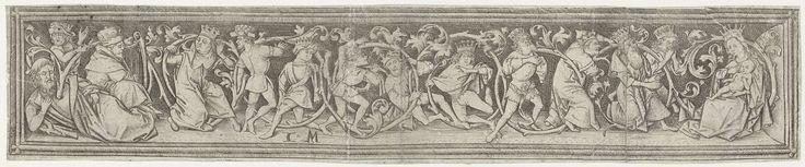 Israhel van Meckenem | Boom van Jesse, Israhel van Meckenem, 1455 - 1503 | Friesvormige voorstelling van een slapende man (Jesse, uiterst links) uit wie een boom groeit in de vorm van een lange rank. Tussen de bladeren verschillende gekroonde figuren, onder wie koning David met zijn harp (links) en Maria met het Christuskind (uiterst rechts). Pendant van een ornamentprent met hazen die een jager braden.