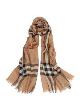 BURBERRY Sjaal van zijde en wol 220 x 70 cm
