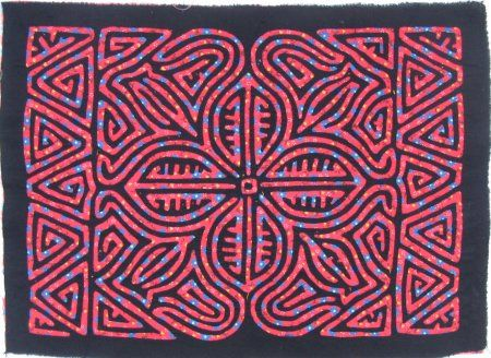 Stylized floral Mola made by Kuna (Cuna) Indian people of Panama's San Blas Islands.