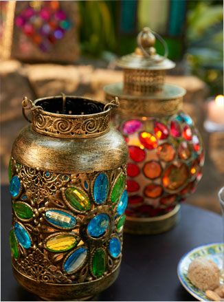 Bohemian Glamour | boho chic | outdoor table lanterns