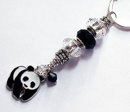 Panda keyring Panda Bear keychain Beaded keyring Stocking