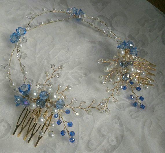 Blue Bridal hair wreath bridal hair vine Bridal Halo