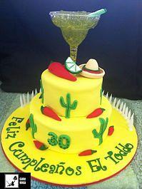 Cake Ninja, Cake Decorating Brisbane | CELEBRATION CAKES  www.cakeninja.com.au Feliz cumpleanos Mexican chili margarita 2 tier cake sombrero cactus