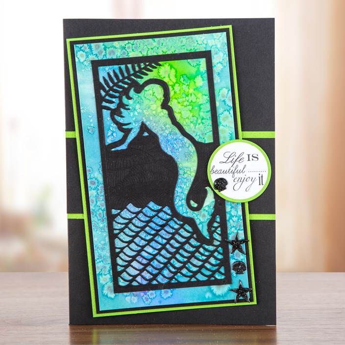 Under the sea! This gorgeous card design was made using the Sea Siren Collection, shop the range now: http://www.createandcraft.tv/papercraft/dies+and+storage/dies/couture+collection--sea+siren.aspx?icn=Sea_Siren&ici=Couture_Sea_Siren #papercraft #cardmaking