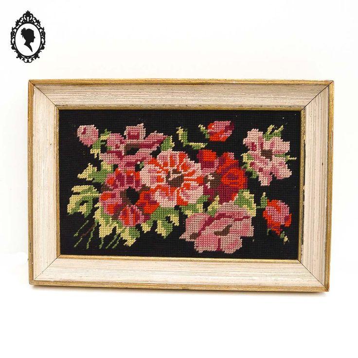 Cadre doré avec tapisserie canevas de fleur vintage ancien année 60 à 80