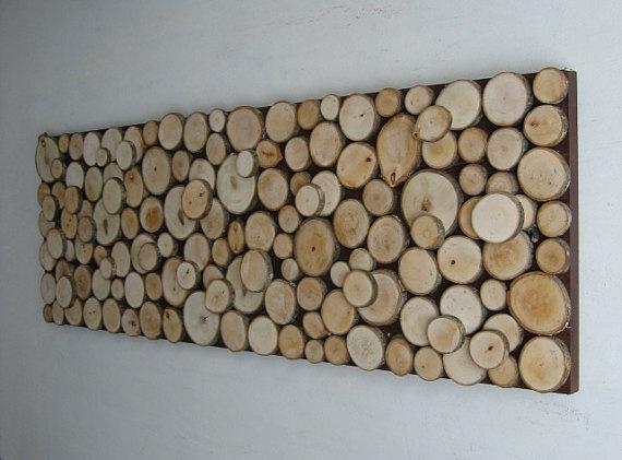 Wood slice wall sculpture