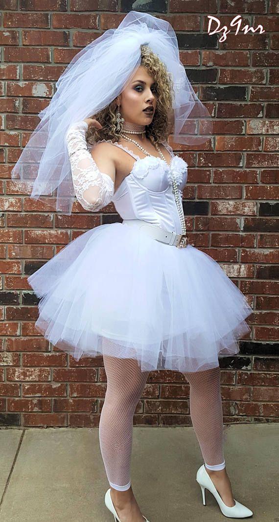 80's Style Wedding Dress~ Vegas Wedding Dress~ 80s Prom Dress~ Madonna Like a Virgin Costume~ Bachelorette Party Dress~ 80's Theme Party