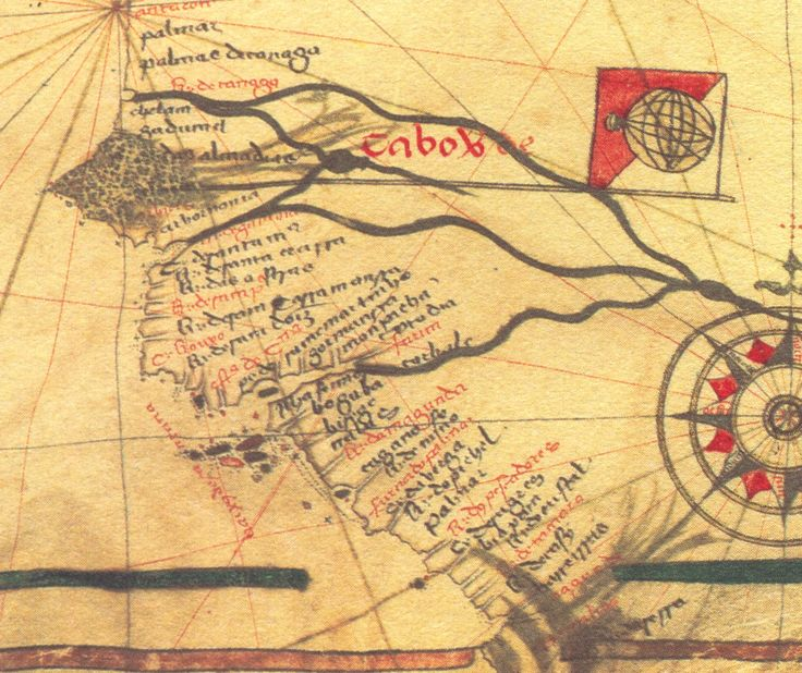 Mapa da zona costeira da Guiné - Carta Náutica Portuguesa - 1471-1482 gentilmente cedido pelo Coronel Nuno Rubim