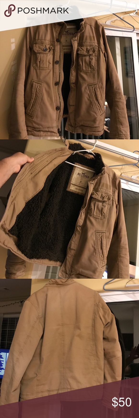 """Hollister Medium """"Carpinteria"""" jacket. Very Used. I'm cleaning out the closet and found this jacket I haven't warm in a year or so. Very used but still has some life left in it. I bought this Hollister jacket a few years back. Original price was at the time not current because I'm not sure what the current retail is. Hollister Jackets & Coats Bomber & Varsity"""