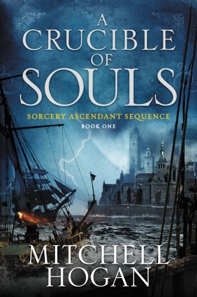 """"""" A crucible of souls"""", by Mitchell Hogan - When young Caldan's parents are brutally slain, the boy is raised by monks who initiate him into the arcane mysteries of sorcery."""