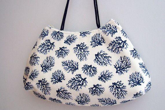 Shoulder Bag  , Over the Shoulder Bag , Fabric Handbag , Handmade Handbag , Summer Purse ,  Coral Print Purse , Nautical Purse on Etsy, $46.00