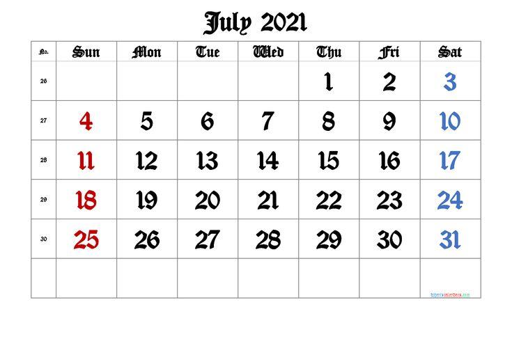 July 2021 Printable Calendar with Week Numbers [Free ...