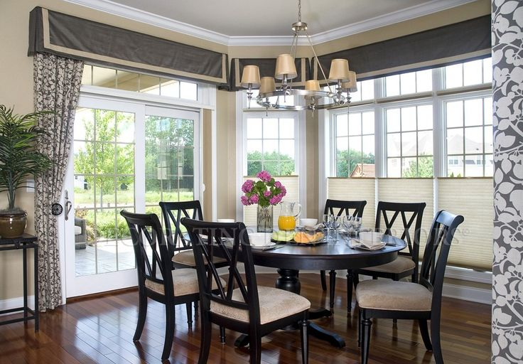 transom window treatments | Vlance and drapes for contemporary Dining Room with wall of windows