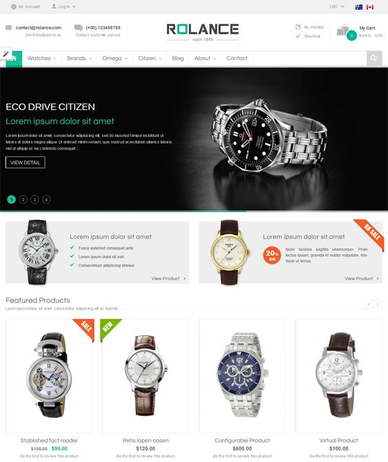This Bootstrap Magento theme offers a responsive layout, an Ajax price slider, a mega menu, 5 preset color variations, an upsell products slider, Ajax layer navigation, 2 menu types, Ajax add to cart, Google Fonts, and more.