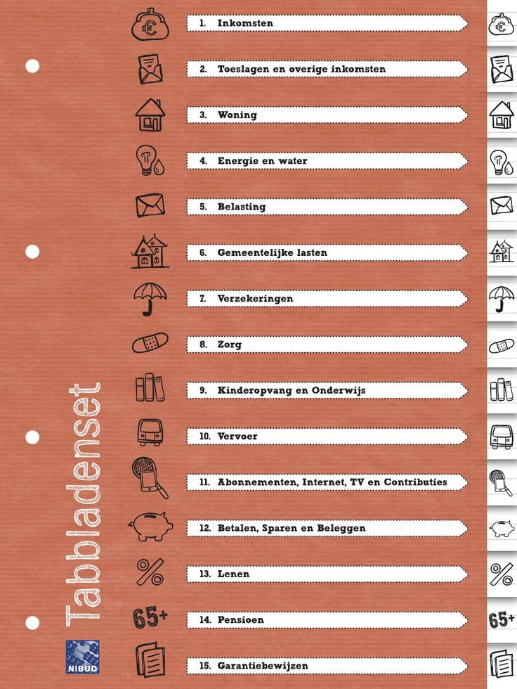 Nibud tabbladenset Deze tabbladen helpen u bij het ordenen van uw papieren en het opzetten van een overzichtelijke administratie. Zo heeft u alles op één plek en kunt u alles makkelijk terugvinden.