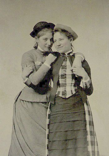 Kitty Ely, Class of 1887 (L) and Helen Emory Class of 1889, Mount Holyoke Students, via VintagePhoto.Livejournal.com