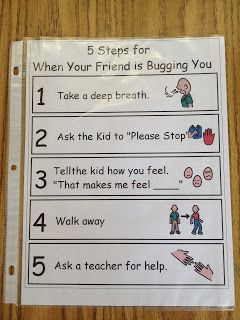 Visual directions for kids with autism.  Help give your student something appropriate to do when friends are bugging them. www.autismtank.blogspot.com
