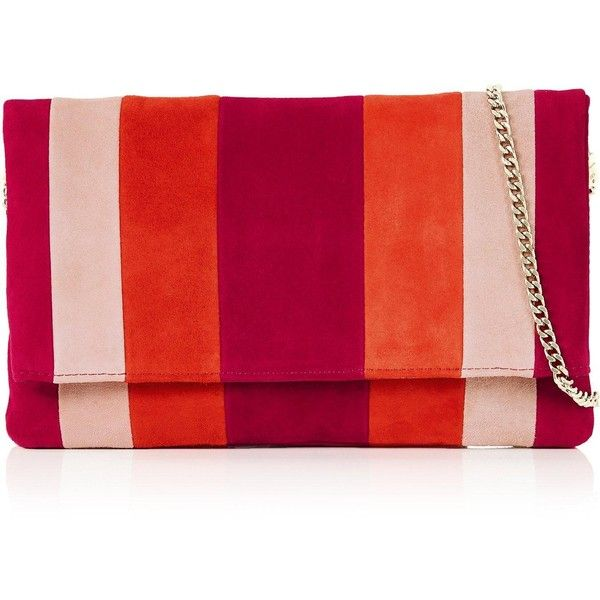 Karen Millen Suede Stripe Clutch Bag (£110) ❤ liked on Polyvore featuring bags, handbags, clutches, red, karen millen purse, suede handbags, striped handbag, stripe handbag and karen millen