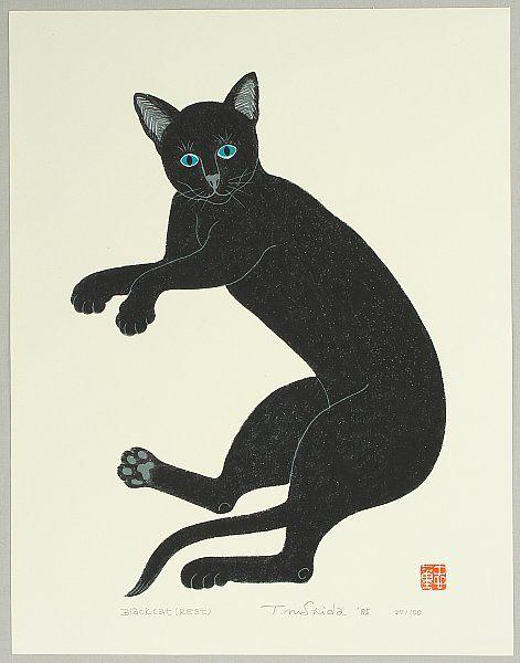 """""""Black Cat Resting"""" by Tadashige Nishida"""