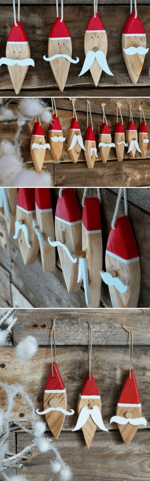 Des Pères Noël en bois à suspendre au sapin ou à accrocher à une porte !